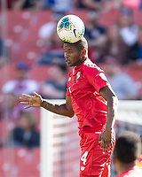 CLEVELAND, OH - JUNE 22: Fidel Escobar #4 heads the ball during a game between Panama and Guyana at FirstEnergy Stadium on June 22, 2019 in Cleveland, Ohio.