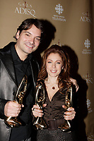 Montreal (Qc) CANADA - October 28 2007-<br /> Nicola Ciccone, winner, Male interpret of the year (<br /> Interprète masculin de l'année),<br /> Isabelle Boulay , winner female singer and show of the year<br />  (Interprète féminine de l'année et Spectacle de l'année - Interprète)<br /> 2007 ADISQ Gala held at Saint-Denis Theater in Montreal<br /> <br />  Photo (c) 2007 Pierre Roussel- Images Distribution