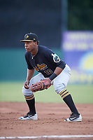 West Virginia Black Bears first baseman Julio De La Cruz (10) during a game against the Batavia Muckdogs on June 26, 2017 at Dwyer Stadium in Batavia, New York.  Batavia defeated West Virginia 1-0 in ten innings.  (Mike Janes/Four Seam Images)