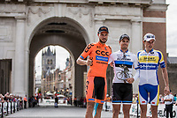 Podium ceremony in front of the Menin Gate Memorial in Ieper/Ypres with (disdant) view on the In Flanders Fields Museum (in the Lakenhalle tower)<br /> <br /> 1st place: Mihkel Raïm (EST/Israël Cycling Academy)<br /> 2nd place: Pawel Bernas (POL/CCC)<br /> 3th place: Preben Van Hecke (BEL/Sport Vlaanderen Baloise)<br /> <br /> 1st Great War Remembrance Race 2018 (UCI Europe Tour Cat. 1.1) <br /> Nieuwpoort > Ieper (BE) 192.7 km