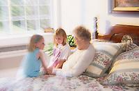 Grand kids visiting grandmother.