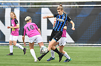 Marie Minnaert (13 Brugge) pictured in a duel during a female soccer game between Club Brugge Dames YLA and Eendracht Aalst Ladies on the 9 th matchday of the 2020 - 2021 season of Belgian Scooore Womens Super League , saturday 12 December 2020  in Brugge , Belgium . PHOTO SPORTPIX.BE | SPP | DAVID CATRY