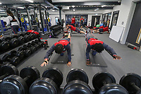 Ki Sung-Yueng and Wilfried Bony exercise in the gym during the Swansea City Training at The Fairwood Training Ground, Swansea, Wales, UK. Thursday 21 September 2017