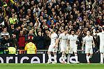 Real Madrid's Marcelo Vieira, Karim Benzema  during Champions League match between Real Madrid and Borussia Dortmund  at Santiago Bernabeu Stadium in Madrid , Spain. December 07, 2016. (ALTERPHOTOS/Rodrigo Jimenez)