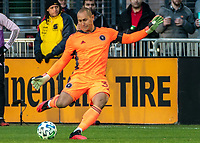 WASHINGTON, DC - MARCH 07: Luis Robles #31 of Inter Miami boots the ball up field during a game between Inter Miami CF and D.C. United at Audi Field on March 07, 2020 in Washington, DC.