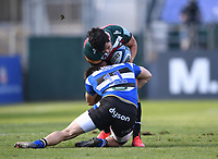 18th April 2021 2021; Recreation Ground, Bath, Somerset, England; English Premiership Rugby, Bath versus Leicester Tigers; Will Muir of Bath tackles Matías Moroni of Leicester Tigers