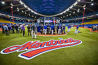 1 April 2016: Members of the Toronto Blue Jays coaching staff watch batting practice prior to a pre-season exhibition game against the Boston Red Sox at Olympic Stadium in Montreal, Quebec, Canada. The Red Sox defeated the Blue Jays 4-2 in the first of two MLB weekend exhibition games, which saw an attendance of 52,682 at the former home on the Montreal Expos. Mandatory Credit: Ed Wolfstein Photo *** RAW (NEF) Image File Available ***