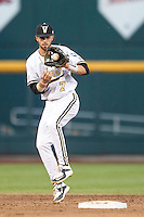 Vanderbilt Commodores shortstop Dansby Swanson (7) on defense against the TCU Horned Frogs in Game 12 of the NCAA College World Series on June 19, 2015 at TD Ameritrade Park in Omaha, Nebraska. The Commodores defeated TCU 7-1. (Andrew Woolley/Four Seam Images)