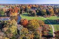 France, Allier (03), Villeneuve-sur-Allier, Arboretum de Balaine en automne (vue aérienne)