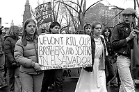 Teenagers against the Draft at rally of 7000 calling for US out of El Salvador in Boston Massachusetts March 21, 1981