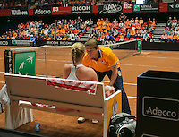 The Netherlands, Den Bosch, 20.04.2014. Fed Cup Netherlands-Japan, Captain Paul Haarhuis is supporting Kiki Bertens (NED)<br /> Photo:Tennisimages/Henk Koster