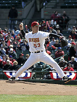 April 10, 2004:  Pitcher Pete Munro (53) of the Rochester Red Wings, Triple-A International League affiliate of the Minnesota Twins, during a game at Frontier Field in Rochester, NY.  Photo by:  Mike Janes/Four Seam Images