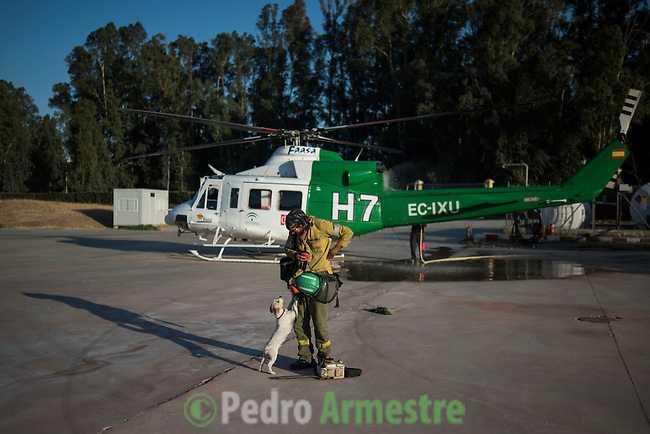Firefighter of Brica's Malaga 703 of the service of Andalucian Infoca Plan, Francisco Perez, is received by his dog Lola at to finish work in the wildfire in El Ronquillo, near Sevilla on July 26, 2015.<br /> Since July 19 wildfires have ravaged nearly 39,000 hectares of land in Spain, according to the provisional figures from the agriculture ministry. © Pedro ARMESTRE