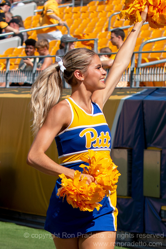Pitt cheerleaders perform. The Western Michigan University Broncos defeated the Pitt Panthers 44-41 at Heinz Field, Pittsburgh, Pennsylvania on September 18, 2021.