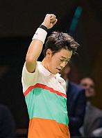 Rotterdam, The Netherlands, 12 Februari 2019, ABNAMRO World Tennis Tournament, Ahoy, first round singles: Kei Nishikori (JPN) celebrates he defeated Pierre-Hugues Herbert (FRA),<br /> Photo: www.tennisimages.com/Henk Koster