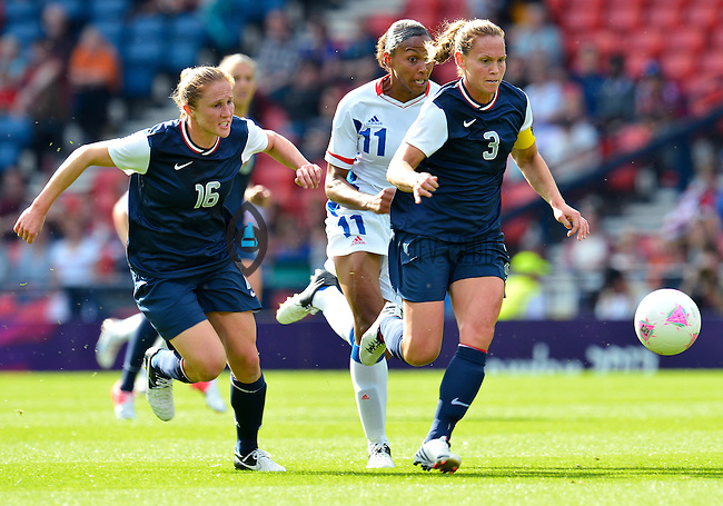 July 25, 2012..United States' Christie Rampone (3) and Rachel Buehler (16) on attack. USA vs France Football match during 2012 Olympic Games at Hampden Park in Glasgow, England. USA defeat France 4-2 after conceding two goals in the first half of the match...(Credit Image: © Mo Khursheed/TFV Media)