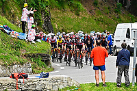 15th July 2021; Luz Ardiden, Hautes-Pyrénées department, France;  Illustration of fans and peloton during stage 18 of the 108th edition of the 2021 Tour de France cycling race, a stage of 129,7 kms between Pau and Luz Ardiden.