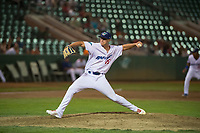Ogden Raptors relief pitcher Justin Bruihl (45) delivers a pitch during a Pioneer League game against the Great Falls Voyagers at Lindquist Field on August 23, 2018 in Ogden, Utah. The Ogden Raptors defeated the Great Falls Voyagers by a score of 8-7. (Zachary Lucy/Four Seam Images)