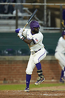 Immanuel Wilder (7) of the Western Carolina Catamounts at bat against the St. John's Red Storm at Childress Field on March 13, 2021 in Cullowhee, North Carolina. (Brian Westerholt/Four Seam Images)