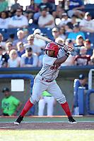 Yonny Hernandez (7) of the Spokane Indians bats against the Hillsboro Hops at Ron Tonkin Field on July 23, 2017 in Hillsboro, Oregon. Spokane defeated Hillsboro, 5-3. (Larry Goren/Four Seam Images)