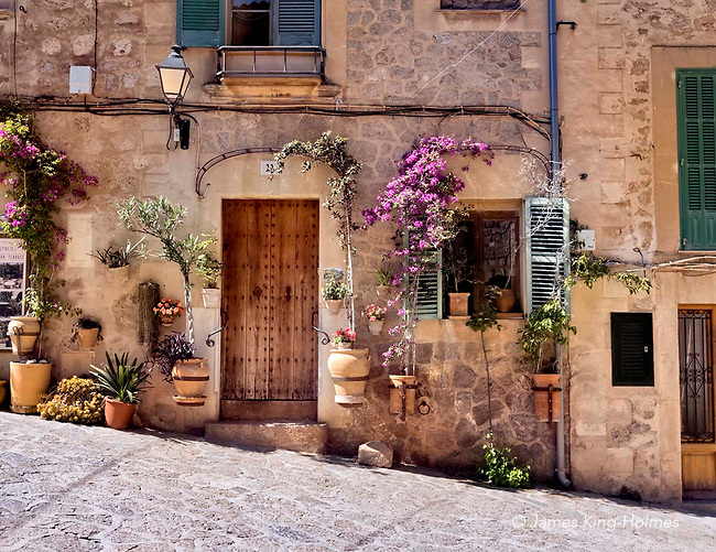 Street door with flowers, Carrer de la Rosa, Valldemossa, Mallorca, Spain