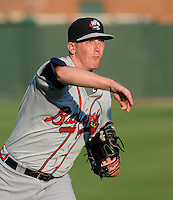 Pitcher Dan Jurik (23) of the Rome Braves, Class A affiliate of the Atlanta Braves, before a game against the Greenville Drive on August 16, 2011, at Fluor Field at the West End in Greenville, South Carolina. (Tom Priddy/Four Seam Images)