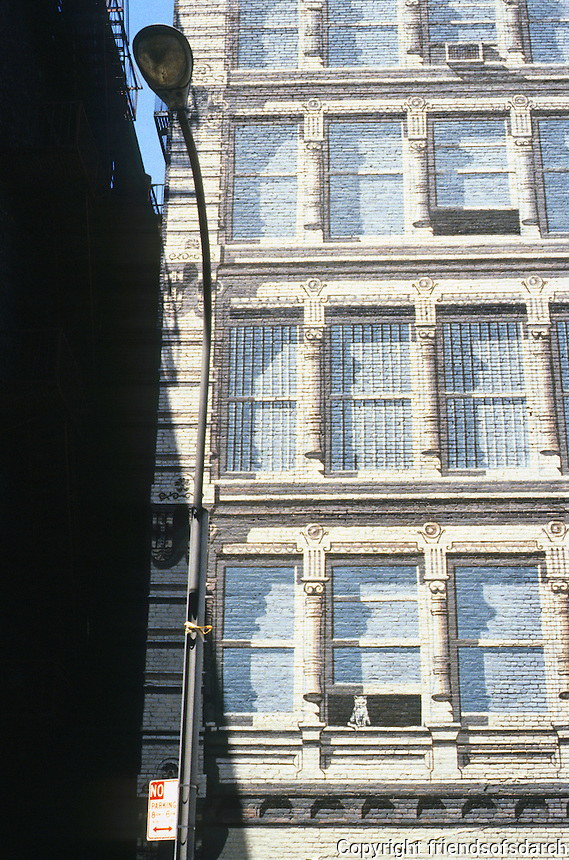 New York City: Richard Haas Mural--SoHo--detail. Note: open window and cat. Photo '85.
