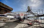 Maxi Trimaran Lending Club ex Banque Populaire VII on the yard at the Cité de la voile Éric Tabarly, Lorient, France.