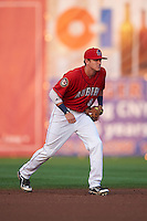 Auburn Doubledays shortstop Ian Sagdal (8) during a game against the Mahoning Valley Scrappers on September 4, 2015 at Falcon Park in Auburn, New York.  Auburn defeated Mahoning Valley 5-1.  (Mike Janes/Four Seam Images)