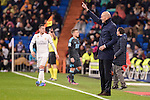 Real Madrid's coach Zinedine Zidane during La Liga match between Real Madrid and Real Sociedad at Santiago Bernabeu Stadium in Madrid, Spain. January 29, 2017. (ALTERPHOTOS/BorjaB.Hojas)