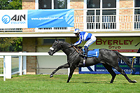 Winner of The Mildren Construction Wateraid Conditions Stakes  Happy Power (blue/white) ridden by Silveste De Sousa and trained by Andrew Balding during Horse Racing at Salisbury Racecourse on 9th August 2020