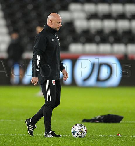 12th November 2020; Liberty Stadium, Swansea, Glamorgan, Wales; International Football Friendly; Wales versus United States of America; Rob Page, coach of Wales