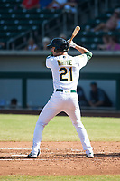 Mesa Solar Sox designated hitter Eli White (21), of the Oakland Athletics organization, at bat during an Arizona Fall League game against the Peoria Javelinas at Sloan Park on October 24, 2018 in Mesa, Arizona. Mesa defeated Peoria 4-3. (Zachary Lucy/Four Seam Images)