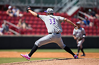 Winston-Salem Dash starting pitcher Dane Dunning (33) in action against the Carolina Mudcats at Five County Stadium on May 14, 2017 in Zebulon, North Carolina.  The Mudcats walked-off the Dash 11-10.  (Brian Westerholt/Four Seam Images)