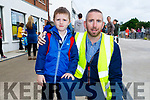 Danny Smith with his dad Brendan Smith at his first day in CBS NS Tralee on Monday