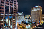 view of downtown Dayton at night with courthouse plaza, Fifth Third Bank, Key Bank at night