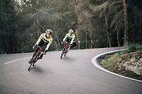 Jasper STUYVEN (BEL/Trek-Segafredo) & Fumiyuki BEPPU (JAP/Trek-Segafredo) descending<br /> <br /> Team Trek-Segafredo men's team<br /> training camp<br /> Mallorca, january 2019<br /> <br /> ©kramon