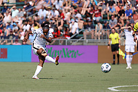 CARY, NC - SEPTEMBER 12: Crystal Dunn #19 of the Portland Thorns FC takes a shot during a game between Portland Thorns FC and North Carolina Courage at Sahlen's Stadium at WakeMed Soccer Park on September 12, 2021 in Cary, North Carolina.