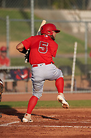 AZL Angels Edwin Bisay (5) at bat during a game against the AZL Giants Orange at Giants Baseball Complex on June 17, 2019 in Scottsdale, Arizona. AZL Giants Orange defeated AZL Angels 8-4. (Zachary Lucy/Four Seam Images)