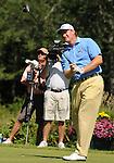 1 September 2008: Ernie Els hits a tee shot at the Deutsche Bank Golf Championship in Norton, Massachusetts.