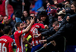 Diego Costa of Atletico de Madrid celebrates with teammate Jorge Resurreccion Merodio, Koke and the fans during the La Liga 2017-18 match between Atletico de Madrid and Getafe CF at Wanda Metropolitano on January 06 2018 in Madrid, Spain. Photo by Diego Gonzalez / Power Sport Images