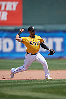 Erie SeaWolves third baseman Isaac Paredes (18) throws to first base during an Eastern League game against the Altoona Curve and on June 4, 2019 at UPMC Park in Erie, Pennsylvania.  Altoona defeated Erie 3-0.  (Mike Janes/Four Seam Images)