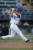 Asheville Tourists first baseman Derek Jones #8 swings at a pitch during game one of a double header against the Rome Braves  at McCormick Field on June 4, 2013 in Asheville, North Carolina. The Braves won the game 5-3. (Tony Farlow/Four Seam Images)