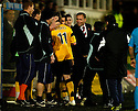 04/11/2006       Copyright Pic: James Stewart.File Name :sct_jspa11_dunfermline_v_falkirk.ANTHONY STOKES IS CONGRATULATED BY MANAGER JOHN HUGHES AND THE REST OF THE FALKIRK BENCH WHEN HE IS SUBSTITUTED AFTER SCORING HIS SECOND HAT TRICK IN TWO GAMES.James Stewart Photo Agency 19 Carronlea Drive, Falkirk. FK2 8DN      Vat Reg No. 607 6932 25.Office     : +44 (0)1324 570906     .Mobile   : +44 (0)7721 416997.Fax         : +44 (0)1324 570906.E-mail  :  jim@jspa.co.uk.If you require further information then contact Jim Stewart on any of the numbers above.........