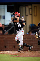Chattanooga Lookouts catcher Brian Olson (30) follows through on a swing during a game against the Mobile BayBears on May 5, 2018 at Hank Aaron Stadium in Mobile, Alabama.  Chattanooga defeated Mobile 11-5.  (Mike Janes/Four Seam Images)