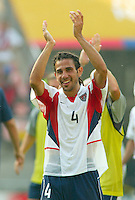 Pablo Mastroeni celebrates after the USA's win over Mexico in Jeonju, Soth Korea, Monday June 17, 2002. Images provided in partnership with International Sports Images. (Please credit: John Todd/Int'l Sports Images/DSA)