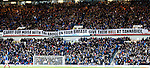 Rangers fans with a message ahead of the Scottish Cup tie at Tannadice