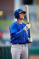 Midland RockHounds right fielder Tyler Marincov (15) on deck during a game against the Arkansas Travelers on May 25, 2017 at Dickey-Stephens Park in Little Rock, Arkansas.  Midland defeated Arkansas 8-1.  (Mike Janes/Four Seam Images)