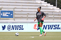 CARY, NC - SEPTEMBER 12: Abby Smith #35 of the Portland Thorns FC warms up before a game between Portland Thorns FC and North Carolina Courage at Sahlen's Stadium at WakeMed Soccer Park on September 12, 2021 in Cary, North Carolina.