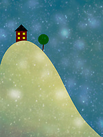 Cute house on top of hill in snow